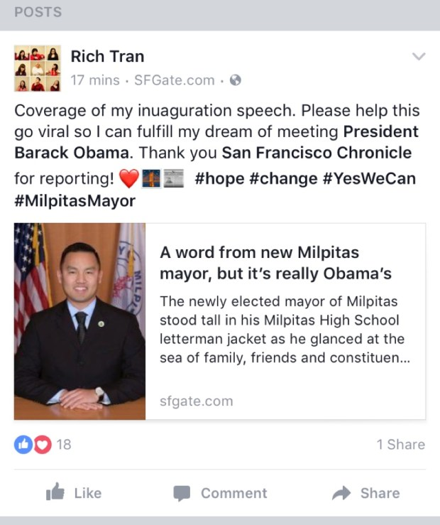 A Facebook post from Milpitas Mayor Rich Tran