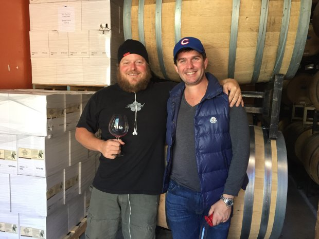 Winemaker Ryan Beauregard and Mark Bright in the Beauregard Vineyardswinery, where Bright makes his wine. Photo credit: Mary Orlin/Bay Area News Group