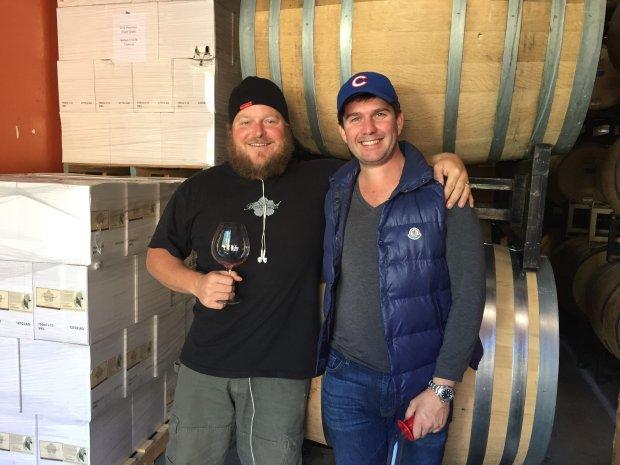 Winemaker Ryan Beauregard and Mark Bright in the Beauregard Vineyardswinery, where Bright makes his wine. Photo credit: Mary Orlin/Bay Area News Group