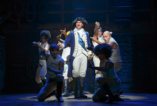 "JOAN MARCUS/SHNGeorge Washington (played on Broadway by Christopher Jackson, center) rallies the troops in a scene from the smash hit musical ""Hamilton,"" which will come to San Francisco in March 2017 as part of the SHN Best of Broadway Season. Hamilton Richard Rodgers Theatre Cast Lin-Manuel Miranda Alexander Hamilton Javier Muñoz Alexander Hamilton Alternate Carleigh Bettiol Andrew Chappelle Ariana DeBose Alysha Deslorieux Daveed Diggs Marquis De Lafayette Thomas Jefferson Renee Elise Goldsberry Angelica Schuyler Jonathan Groff King George III Sydney James Harcourt Neil Haskell Sasha Hutchings Christopher Jackson George Washington Thayne Jasperson Jasmine Cephas Jones Peggy Schuyler Maria Reynolds Stephanie Klemons Emmy Raver-Lampman Morgan Marcell Leslie Odom, Jr. Aaron Burr Okieriete Onaodowan Hercules Mulligan James Madison Anthony Ramos John Laurens Phillip Hamilton Jon Rua Austin Smith Phillipa Soo Eliza Hamilton Seth Stewart Betsy Struxness Ephraim Sykes Voltaire Wade-Green Standby: Javier Muñoz (Alexander Hamilton) Production Credits: Thomas Kail (Director) Andy Blankenbuehler (Choreographer) David Korins (Scenic Design) Paul Tazewell (Costume Design) Howell Binkley (Lighting Design) Other Credits: Lyrics by: Lin-Manuel Miranda Music by: Lin-Manuel Miranda Book by Lin-Manuel Miranda"