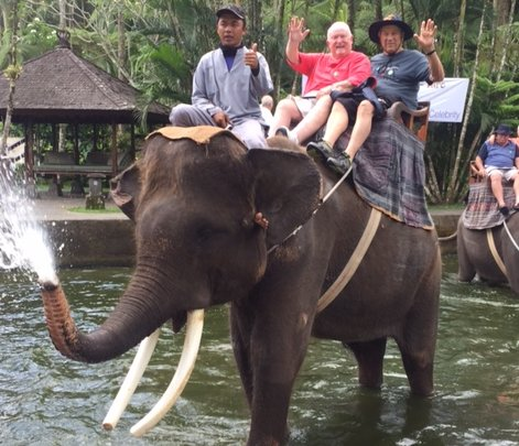 "Courtesy of Clay CostelloINDONESIA: Oakland resident Clay Costello and ""travel buddy"" Gary Mortweet -- from San Antonio, Texas -- enjoyed an elephant ride in Bali this fall."