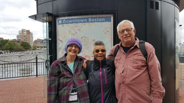 BOSTON: Dublin residents Enoyse and Walt Sommer recently took aBoston-to-Montreal cruise and ran into a longtime friend, Christine (center), from Santa Fe. (Photo courtesy of the Sommer family)