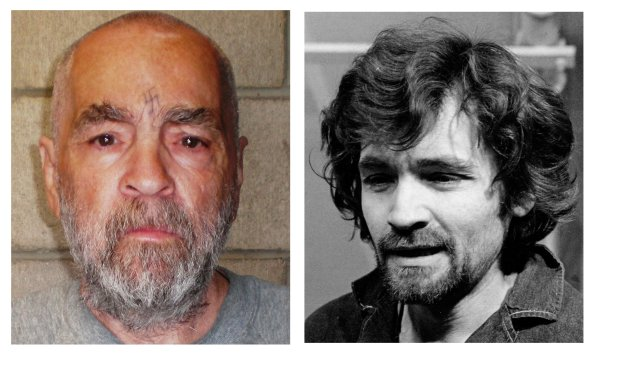 In a Dec. 17, 1970 file photo, right, Charles Manson is pictured en route to a Los Angeles courtroom. At left Manson is shown in a photo made and released Wednesday March 18, 2009 by California corrections officials. The photo of the 74-year-old Manson was taken Wednesday as part of a routine update of files on inmates at Corcoran State Prison. (AP Photo/ho/files)