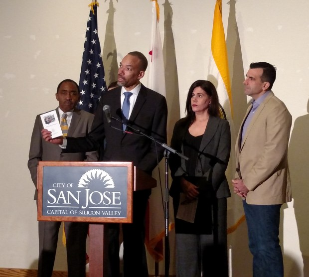 San Jose's Independent Police Auditor Walter Katz outlines an 18-month outreach effort to strengthen police-community relations at a forum at the Mexican Heritage Plaza on Jan. 21, 2017, flanked by Emmett Carson, president of the Silicon Valley Community Foundation, Vice Mayor Magdalena Carrasco, and Mayor Sam Liccardo.