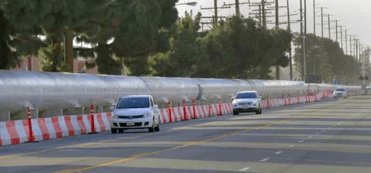 This Jan. 19, 2017 staff file photo shows the SpaceX hyperloop test track along Jack Northrop Drive in Hawthorne. (Photo by Brad Graverson, Torrance Daily Breeze/SCNG