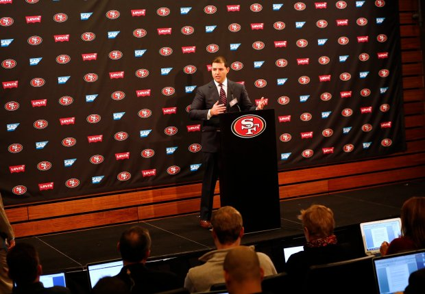 Jed York, 49ers CEO, talks about the future of the team during a press conference at Levi's Stadium in Santa Clara, Calif., on Monday, Jan. 2, 2017. York fired general manager, Trent Baalke and first-year coach Chip Kelly yesterday after a season-ending loss to the Seattle Seahawks. (Gary Reyes/Bay Area News Group)