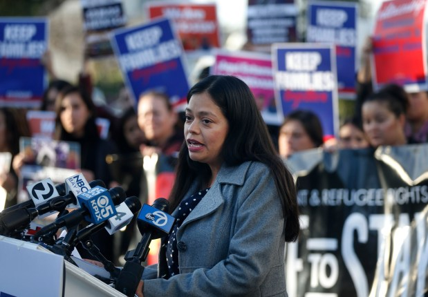 File photo -- Maricela Gutierrez, executive director of SIREN, speaks during a press conference at SIREN (Services, immigrant Rights and Education Network) in San Jose, Calif., Wednesday, Jan. 25, 2017. The event was attended by civic leaders, DACA students, immigrants, refugees and others who have a stake in the United States' changing immigration policy. The press conference was in response to the news of President Trump's recent executive orders to limit immigration and construct a wall at the US/Mexico border.(Patrick Tehan/Bay Area News Group)