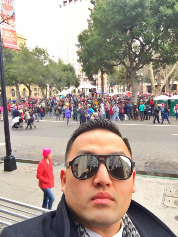 Mayor Richard Tran takes a selfie at the Women's March that was held in San Jose on Saturday in conjunction with others across the state, country and globe in support of women's rights, aimed at sending a message to newly elected President Donald Trump.Photo courtesy of Richard Tran