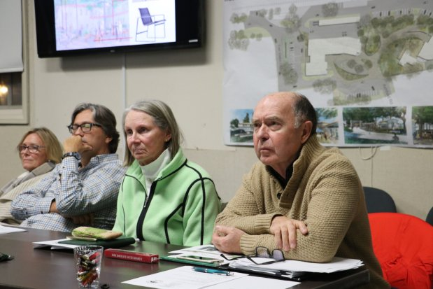 Atherton Civic Center Advisory Committee members Elizabeth Lewis, Steve Dostart, Didi Fisher and Clive Merredew, from left, listen to a presentation on landscaping at a meeting on Jan. 9, 2017, in the city council chambers. (John Orr / Daily News)