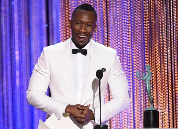 "Mahershala Ali, seen accepting his Screen Actors Guild Award for his role in ""Moonlight. accepts the award for outstanding performance by a male actor in a supporting role for ""Moonlight"" at the 23rd annual Screen Actors Guild Awards at the Shrine Auditorium & Expo Hall on Sunday, Jan. 29, 2017, in Los Angeles. (Photo by Chris Pizzello/Invision/AP)"