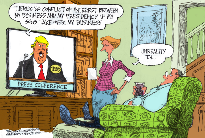Image result for CARTOON ABOUT TRUMP CONFLICTS OF INTEREST
