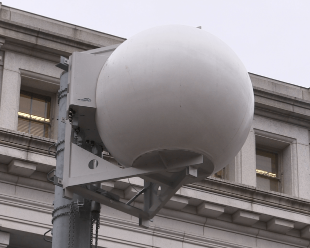 """Verizon deployed along the National Mall Matsing Ball technology that """"divides crowds into sectors like slices of a pie"""" and allows them to better handle wireless traffic. Provided by Verizon."""