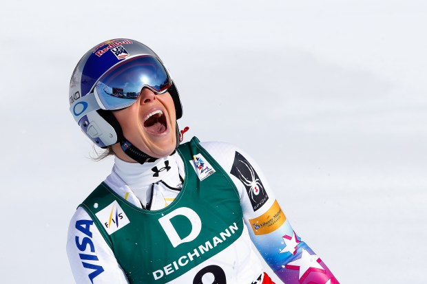 Lindsey Vonn of USA wins the bronze medal during the FIS Alpine Ski World Championships Women's Downhill on February 12, 2017 in St. Moritz, Switzerland (Photo by Giovanni Auletta/Agence Zoom/Getty Images)