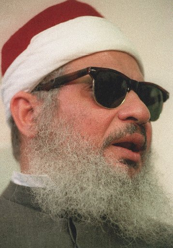 This April 6, 1993 file photo shows Sheik Omar Abdel-Rahman in New York. Kenneth McKoy of the Federal Correction Complex in Butner, N.C., said Abdel-Rahman died Saturday, Feb. 18, 2017, after a long battle with diabetes and coronary artery disease. Abdel-Rahman was sentenced to life in prison after his 1995 conviction for his advisory role in a plot to blow up landmarks, including the United Nations, and several bridges and tunnels. (AP Photo/ Mark Lennihan, file)