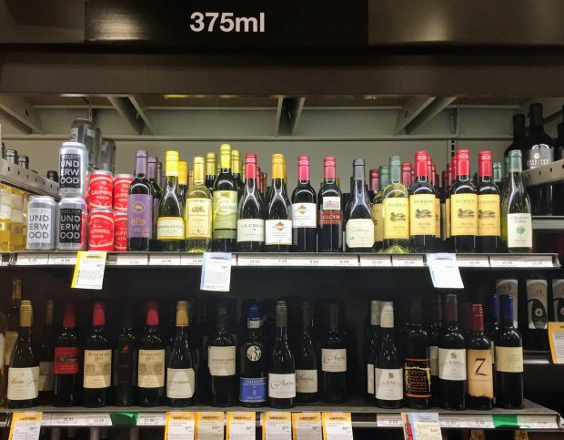 At Total Wine & More in Fremont, customers will find two shelves dedicatedto half bottle wines (375 ml). Photo credit: Mary Orlin/Staff