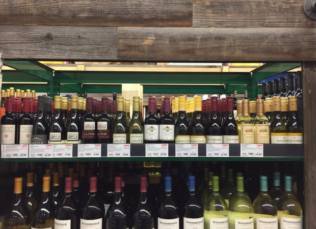 The BevMo store location in San Jose's Almaden Valley has one shelfdedicated to wine in half bottles. Photo credit: Mary Orlin/Staff