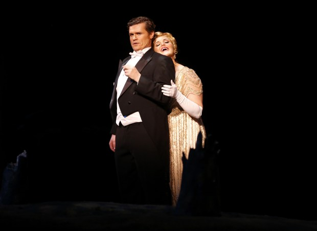 """""""Nikolaus Sprink,"""" left, played by Kirk Dougherty, and """"Anna Sorensen,"""" played by Julie Adams, sing during a dress rehearsal for Opera San Jose's """"Silent Night"""" at the California Theatre in San Jose, Calif. on Thursday, Feb. 9, 2017. (Nhat V. Meyer/Bay Area News Group)"""