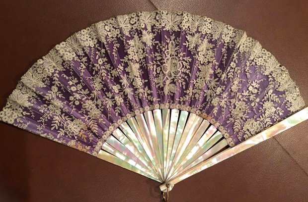 This mother-of-pearl and embroidered silk fan, which is said to have belonged originally to the Empress Eugenie of France's House of Bonaparte, will be offered at the final Stanford Treasure Market. (Photo courtesy of Treasure Market)
