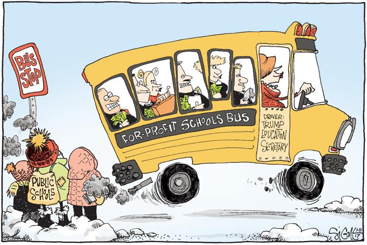 Image result for cartoon on betsy devos