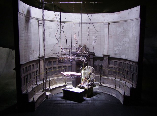 "John Macfarlane's set design for the room where students dissect cadavers in the Royal Ballet production of Liam Scarlett's ""Frankenstein."" (The Royal Ballet)"