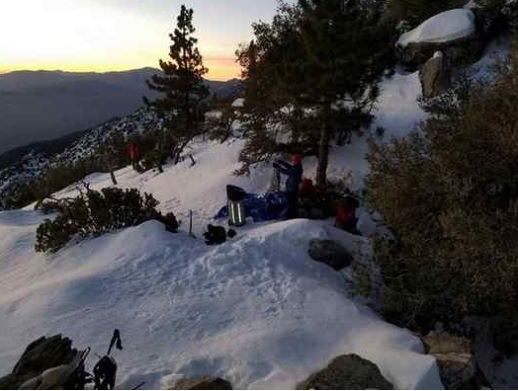 Three hikers and a park ranger had to make camp on a snowy Mount San Jacinto trail Saturday night. (COURTESY OF MOUNT SAN JACINTO STATE PARK)