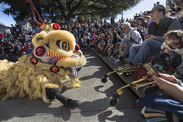 Adisa Au, 3, (right) watches a Lion Dance by Developing Virtue Dragon and Lion Dance Club at the Asian New Year celebration held at The Oakland Museum of California on Sunday, Feb. 12, 2017 in Oakland, CA. Photo by Paul Kuroda.The Oakland Museum of California (OMCA) rings in the Year of the Rooster with a day of Asian New Year traditions on Sunday, February 12, 2017 from 12 to 4:30 pm. Featuring activities for the entire family, the 16th annual event celebrates the many time-honored traditions of diverse Asian cultures represented in California, including Chinese, Korean, Vietnamese, Japanese, Mongolian and other Asian cultures with an array of arts, crafts, food, demonstrations, live music, dance, martial arts, and more.