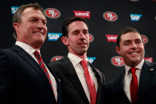 San Francisco 49ers CEO Jed York, right, poses with the team's new general manager John Lynch, left, and head coach Kyle Shanahan at a press conference, Thursday, Feb. 9, 2017, at Levi's Stadium in Santa Clara, Calif. (Karl Mondon/Bay Area News Group)