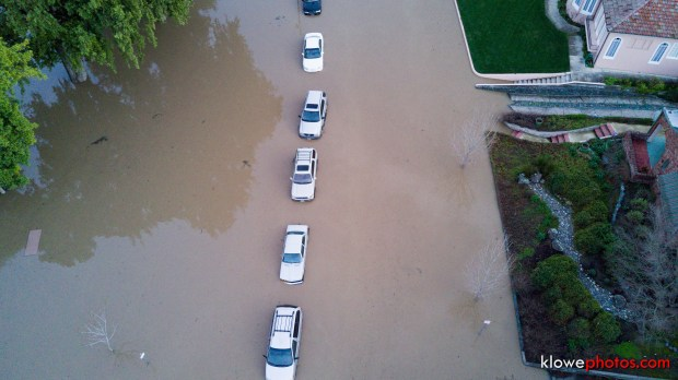 Courtesy Kevin Lowe - A still photo captured from a drone video depicts the extensive flooding which enveloped East William Street in San Jose, Calif. on Tuesday, Feb. 21, 2017.