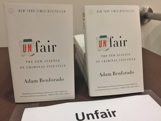 """""""Unfair: The New Science of Criminal Injustice,"""" by Adam Benforado, is oneof the two books selected for Silicon Valley Reads in 2017, which has the theme """"... and justice for all."""" (Sal Pizarro/Staff)"""