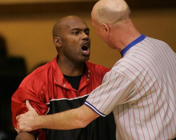2006 photo: Tim Hardaway, then coach of the Florida Pit Bulls, during a game against the San Jose Sky Rockets at San Jose Civic Auditorium. (Jim Gensheimer/Mercury News)