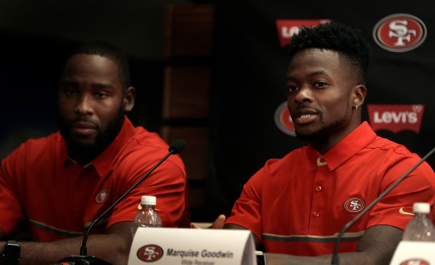 San Francisco 49ers wide receivers Pierre Garçon, left, and Marquise Goodwin answer questions from reporters during a media conference Friday, March 10, 2017, in Santa Clara, Calif. (AP Photo/Ben Margot)