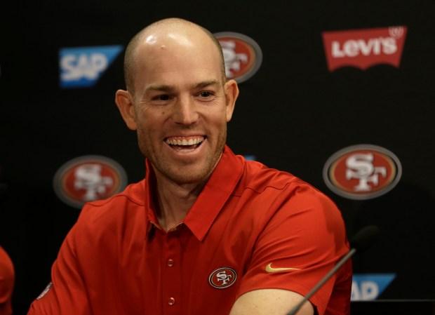 San Francisco 49ers kicker Robbie Gould smiles during a media conference Friday, March 10, 2017, in Santa Clara, Calif. (AP Photo/Ben Margot)
