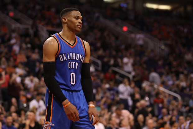 PHOENIX, AZ - MARCH 03: Russell Westbrook #0 of the Oklahoma City Thunder reacts during the final moments of the second half of the NBA game against the Phoenix Suns at Talking Stick Resort Arena on March 3, 2017 in Phoenix, Arizona. The Suns defeated the Thunder 118-111. NOTE TO USER: User expressly acknowledges and agrees that, by downloading and or using this photograph, User is consenting to the terms and conditions of the Getty Images License Agreement. (Photo by Christian Petersen/Getty Images)