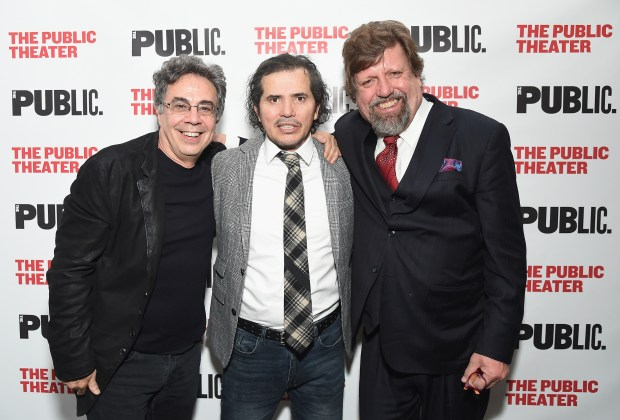 "NEW YORK, NY - MARCH 27: (L-R) Director Tony Taccone, actor John Leguizamo and Artistic Director of The Public Theater Oskar Eustis attend the ""Latin History For Morons"" opening night celebration at The Public Theater on March 27, 2017 in New York City. (Photo by Michael Loccisano/Getty Images)"