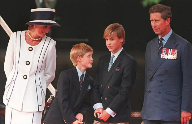 (FILES) This file picture taken 19 August 1995 in London shows Princess Diana (L), her sons Harry(2nd L) and William (2nd R), and Prince Charles(R) watching the parade march past as part of the commemorations of VJ Day. Ten years after her death in a Paris tunnel on 31 August 1997, Princess Diana shows no sign of retreating into the shadows -- her most enduring legacy the ability, even now, to engage, capture and divide public opinion. AFP PHOTO/FILES TO GO WITH AFP STORY / PACKAGE BRITAIN-ROYALS-DIANA-10YEARS / GB-ROYAUTE-DIANA-10ANS (Photo credit should read JOHNNY EGGITT/AFP/Getty Images)
