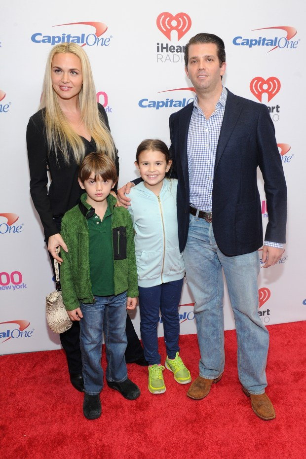 NEW YORK, NY - DECEMBER 11: Donald Trump Jr., wife Vanessa Haydon, and children Kai Madison and Donald John III attend Z100's Jingle Ball 2015 at Madison Square Garden on December 11, 2015 in New York City. (Photo by Craig Barritt/Getty Images for iHeartMedia)