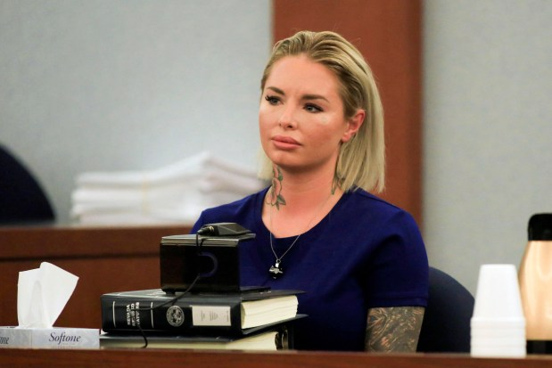 Christine Mackinday, aka Christy Mack, gives her testimony, March 9, 2017, in Las Vegas. (Brett Le Blanc/Las Vegas Review-Journal via AP)