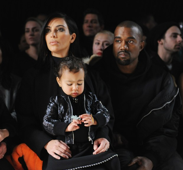 Kim Kardashian, North West and Kanye West during New York Fashion Week in 2015. (Photo by Craig Barritt/Getty Images)