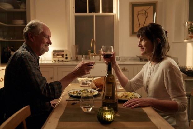 """This image released by CBS Films and Lionsgate shows Jim Broadbent, left, and Harriet Walter in a scene from, """"The Sense of an Ending,"""" a film based on the novel by Julian Barnes. (Robert Viglasky/CBS Films and Lionsgate via AP)"""
