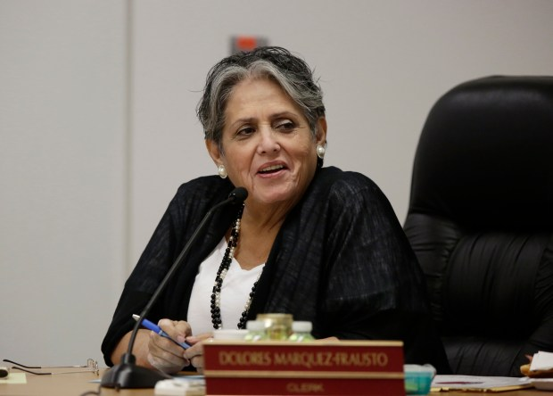 Dolores Marquez, member of the ARUESD board of trustees, is photographed during board meeting at Alum Rock Union Elementary School District in San Jose, Calif., on Wednesday, March 29, 2017. (Josie Lepe/Bay Area News Group)