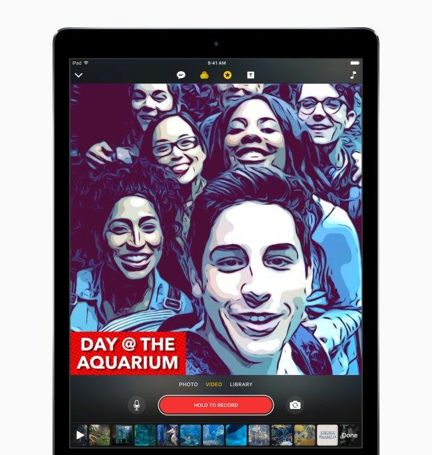 A screenshot of Apple's new Clips app on an iPad. Due out next month forcertain iPhone, iPad and iPod touch models, the app will allow users to apply custom filters to videos. (Courtesy of Apple)
