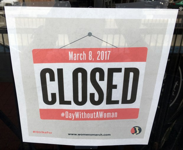 """Donut Savant closed its doors to business to participate in the """"Day Without A Woman"""" national strike, in Oakland, Calif., on Wednesday, March 8, 2017. (Anda Chu/Bay Area News Group)"""