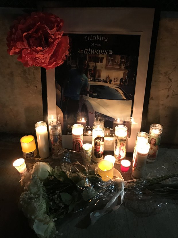A memorial for 24-year-old son Jesús Alberto Geney Montes is pictured on March 16, 2017. Geney Montes was shot and killed in an encounter with a Santa Clara police officer on March 9, 2017. (Jason Green/Bay Area News Group)