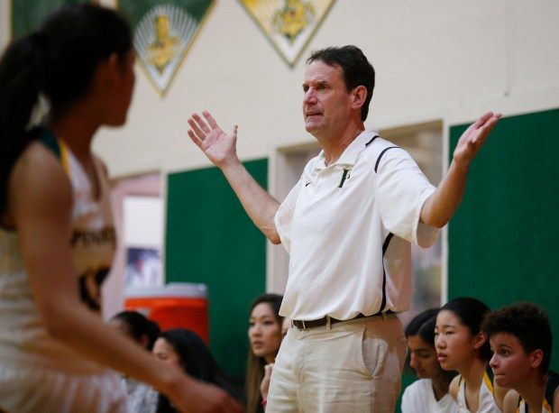 Pinewood coach Doc Scheppler reacts to a play against Bishop in the third quarter during the Northern California Open Division girls basketball quarterfinal game at Pinewood School Friday, March 10, 2017, in Los Altos Hills, Calif. (Jim Gensheimer/Bay Area News Group)