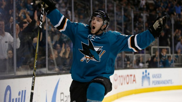 San Jose Sharks' Chris Tierney (50) celebrates his game tying goal against the New York Rangers in the third period at the SAP Center in San Jose, Calif. on Tuesday, March 28, 2017. (Nhat V. Meyer/Bay Area News Group)