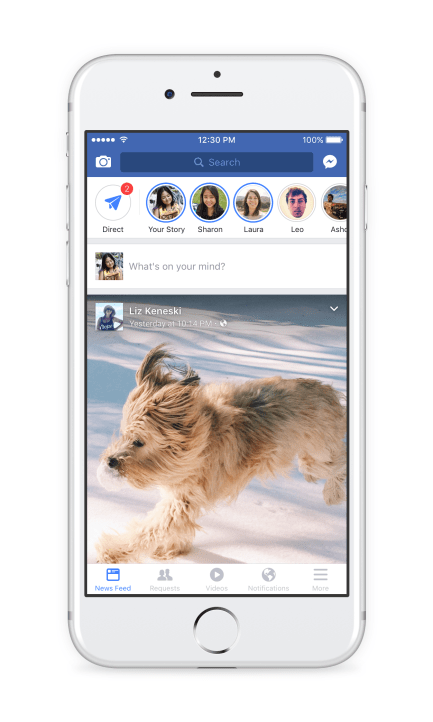 Facebook on Tuesday released a new feature called Stories that allows users to post photos and videos that disappear in 24 hours. (Courtesy of Facebook)