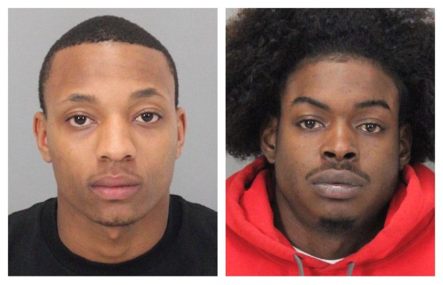 Sacramento-area residents Devante Javon Smith, 22, and Phillip Samuel Davis, 21, were arrested March 17, 2017 in Milpitas on suspicion of using stolen credit cards from a string of car break-ins in the East Bay. (Milpitas Police Dept.)