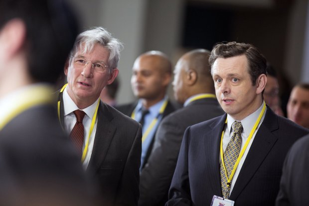 Richard Gere, left, plays Norman Oppenheimer, and Michael Sheen playsPhilip Cohen. (Seacia Pavao/Sony Pictures Classics)