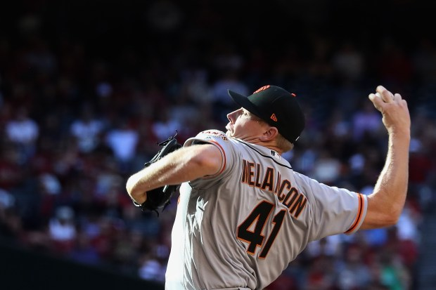 Relief pitcher Mark Melancon #41 of the San Francisco Giants pitches against the Arizona Diamondbacks during the ninth inning of the MLB opening day game at Chase Field on April 2, 2017 in Phoenix, Arizona. The Diamondbacks defeated the Giants 6-5. (Photo by Christian Petersen/Getty Images)