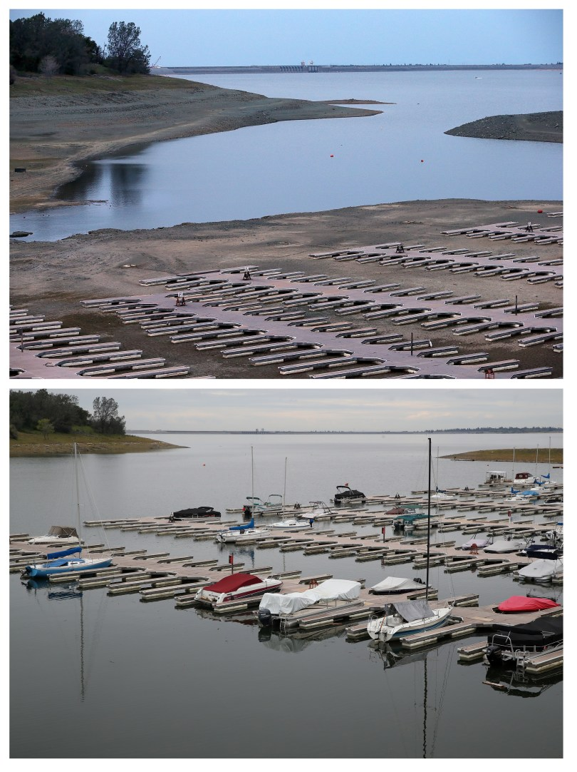 EL DORADO HILLS, CA - MARCH 20, 2014: In this before-and-after composite image, (TOP PHOTO) Empty boat docks at the Folsom Lake Marina sit on the dry lakebed of Folsom Lake on March 20, 2014 in El Dorado Hills, California. Now in its third straight year of drought conditions, California is experiencing its driest year on record, dating back 119 years, and reservoirs throughout the state have low water levels. Folsom Lake, a reservoir located northeast of Sacramento, has seen its capacity dwindle over the past 2-1/2 years of drought with current levels at around 20% of normal.  EL DORADO HILLS, CA - APRIL 11, 2017: (BOTTOM PHOTO) Boats sit docked at the Folsom Lake Marina on April 11, 2017 in El Dorado Hills, California. After record rainfall and snow in the mountains, much of California's landscape has turned from brown to green and reservoirs across the state are near capacity. California Gov. Jerry Brown signed an executive order Friday to lift the State's drought emergency in all but four counties. The drought emergency had been in place since 2014.  (Photo by Justin Sullivan/Getty Images)